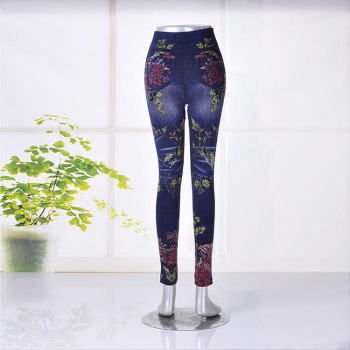 Mixed batch print jeans fashion female pants feet pants trousers slim pencil color trousers with flower