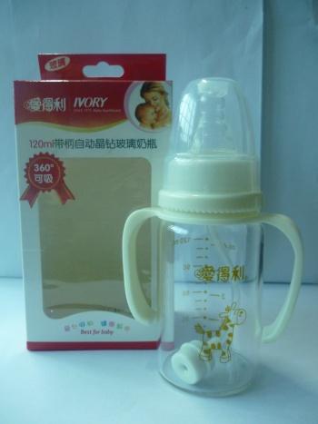 爱得利玻璃奶瓶套装_爱得利(ivory)带柄自动晶钻玻璃奶瓶(120ml)