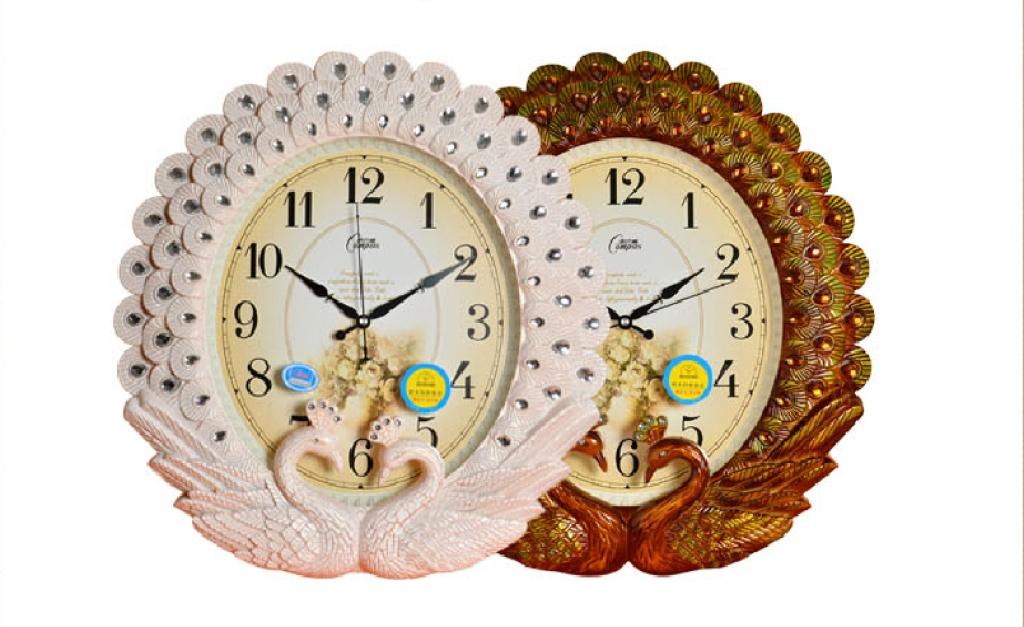 康巴丝(compas)新款孔雀欧式大挂钟 客厅静音钟表创意墙钟 c2821