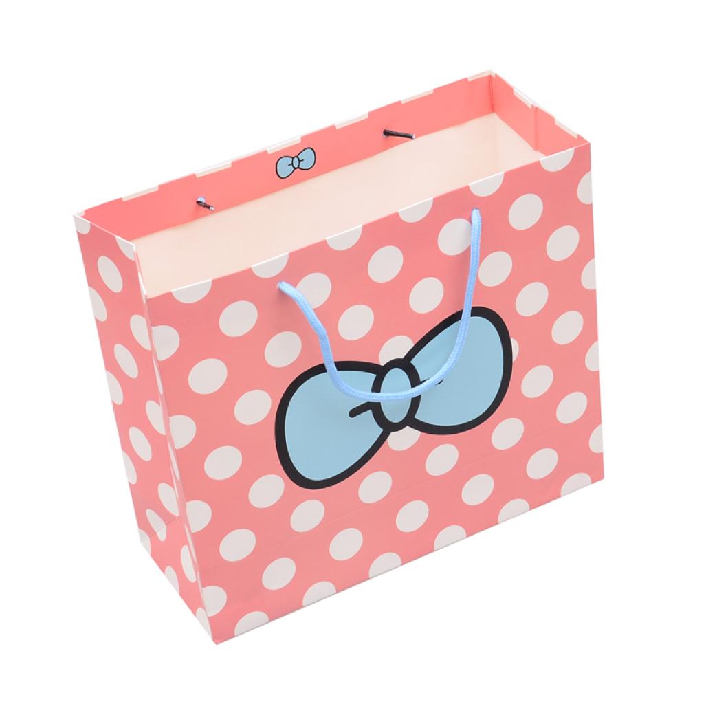 可爱粉色圆点蝴蝶结礼品袋纸袋手提袋