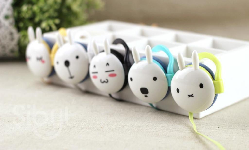 时尚可爱卡通彩色兔子耳挂式耳机