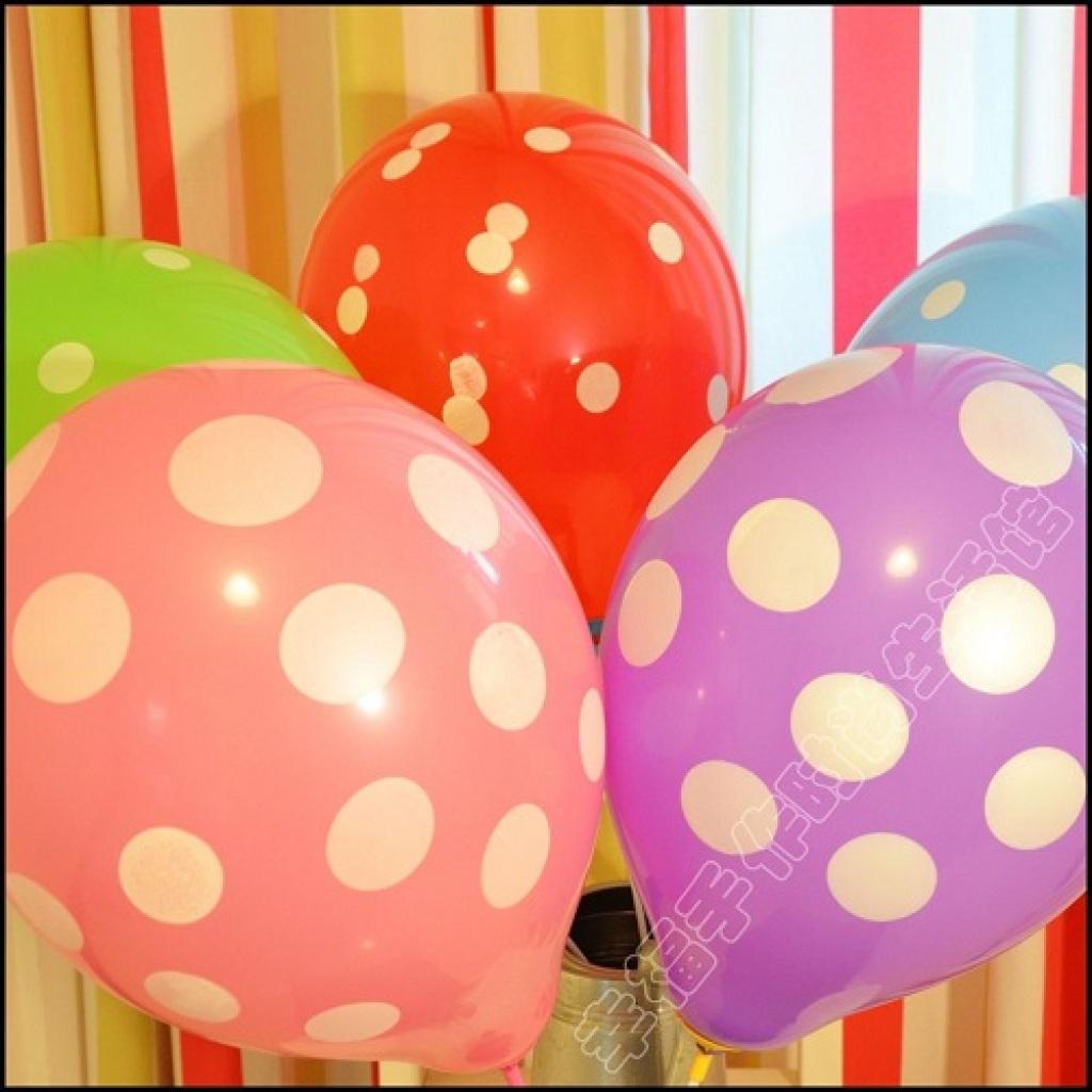 12个卡片 圆点波点亚光全花气球 加厚生日派对装饰