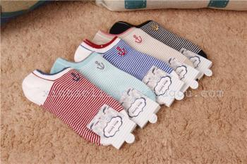 Ms spring 2015 new cotton cotton striped boat-hook embroidery flower socks boat socks invisible socks