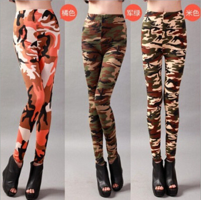 2015 spring new Korean version printed Camo thin leggings pants spring women's nine minutes wearing trousers slim surge