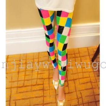 2015 the Korean version of graffiti mesh leggings plus size stretch slim Candy-colored pants of nine female printing thin