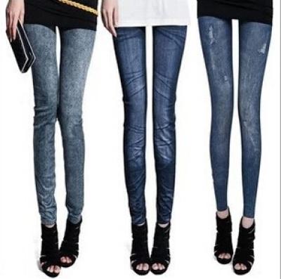 Manufacturers selling Korean hip skinny leggings faux denim stretch of nine of nine the snowflake footless tights