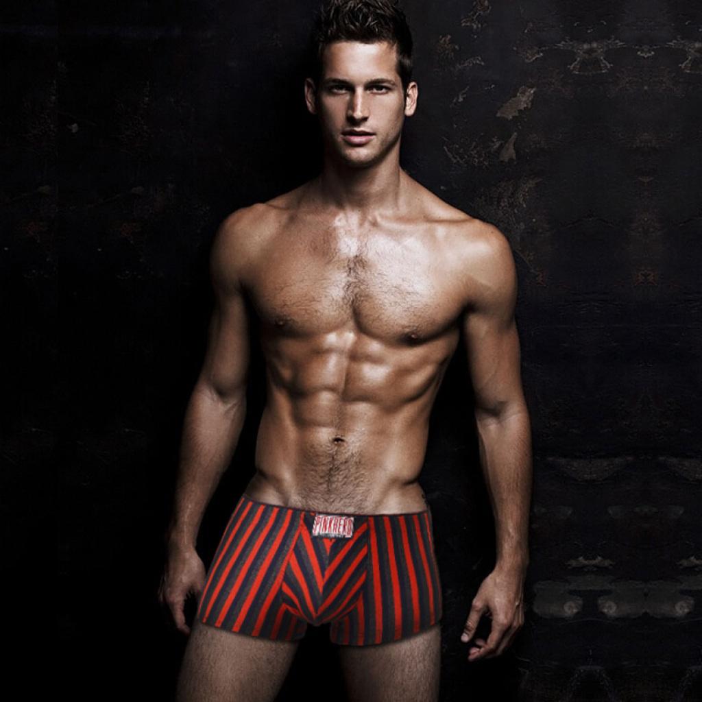 新款莫代尔条纹男内裤欧美男士商务运动百搭款平角