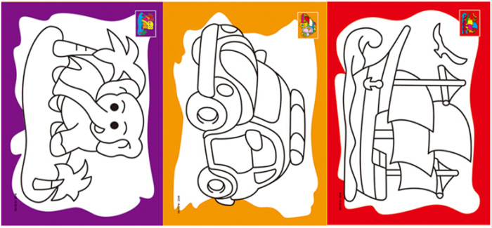 六连体水彩画 儿童填色画涂色画diy