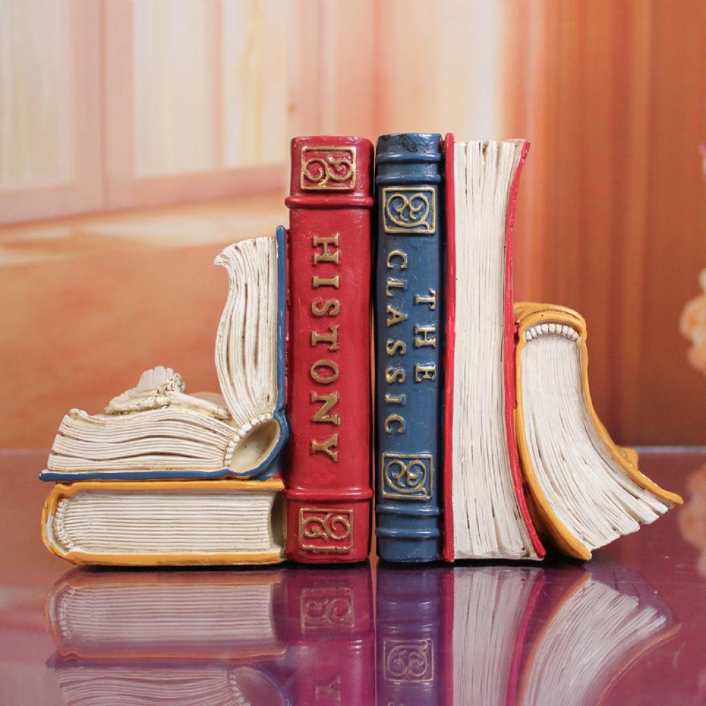 复古书挡摆件欧式书房书架装饰品创意家居书立工艺品