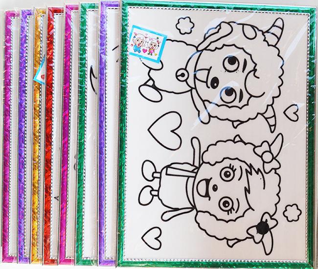 DIY简包装 儿童植绒带框卡通闪光画配8色画笔