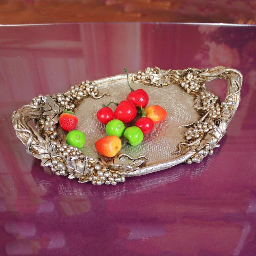 欧式家居饰品高档奢华摆件客厅装饰品工艺水果盘雕花玫瑰果盘