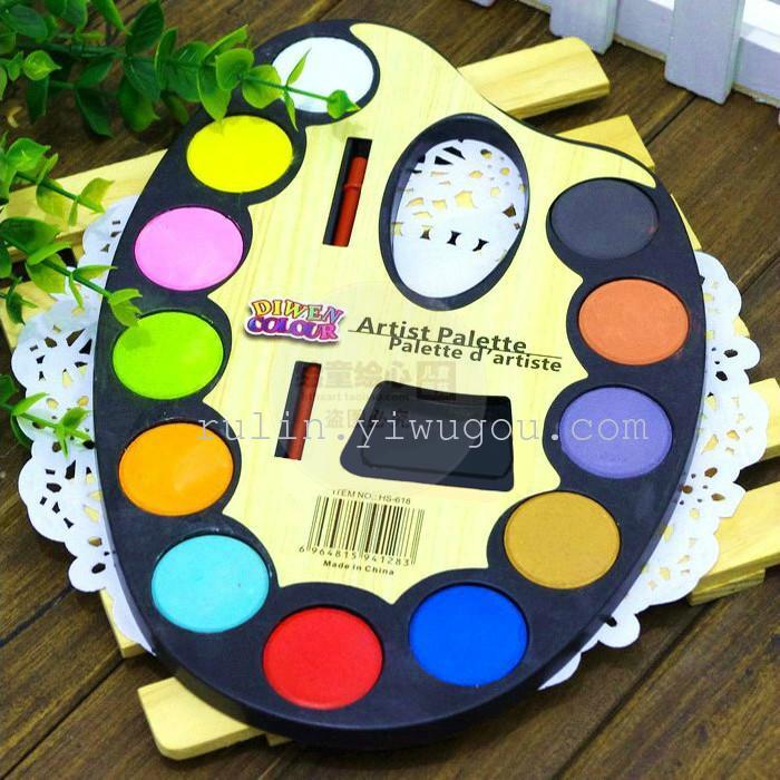 儿童固体水彩颜料12色半干涂鸦水粉饼学画专用幼儿绘画送画笔