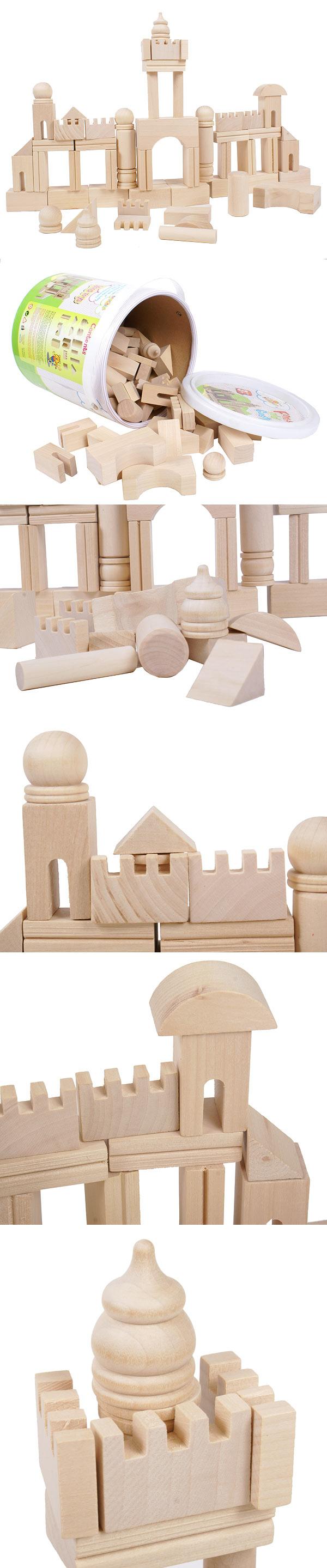 桶装益智城堡积木 森林古堡 原木木制玩具积木益智