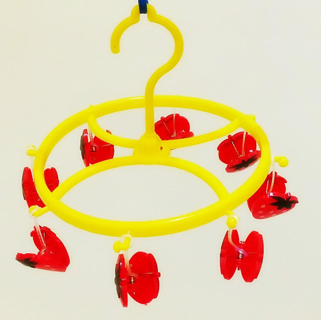 卡通可爱草莓晒衣架批发 儿童衣架塑料 圆形塑料晒架