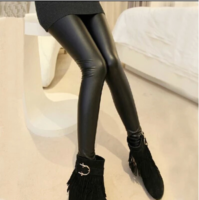 2015 spring new ladies wearing slim Korea edition matte faux leather skinny leggings