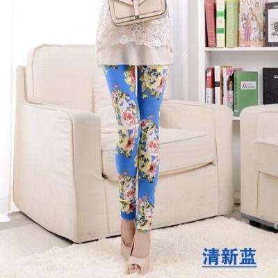 Korea classic pastoral roses sanding small floral leggings milk silk pants