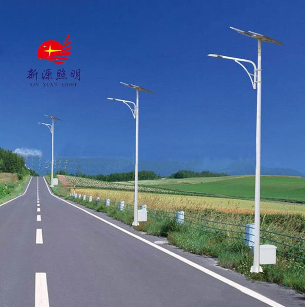 6m太阳能路灯 景观灯 led道路灯 铁质热镀锌双头灯杆图片