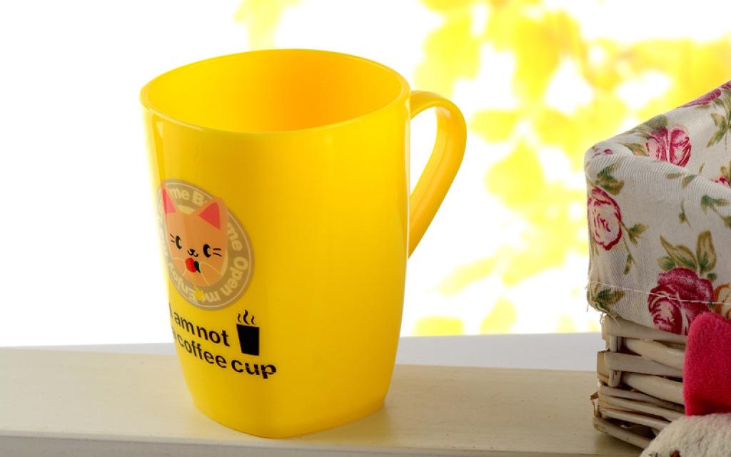塑料可爱卡通水杯喝水杯口杯 糖果色带手柄洗漱套装 5035