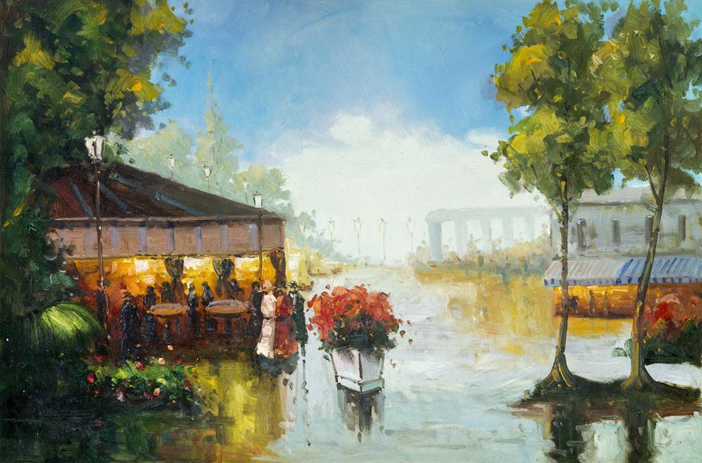手绘油画风景 乡村欧式相框镜框