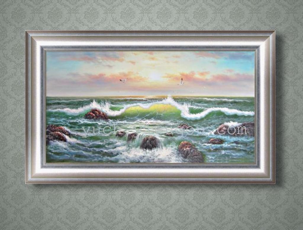 瑜辰手绘油画装饰画客厅酒店家居古典海景地中海油画