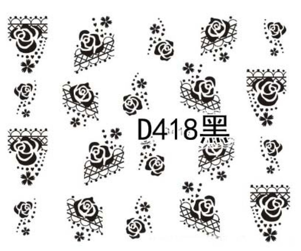 新款热销光疗美甲水印指甲贴黑白花类美甲饰品d416-426黑