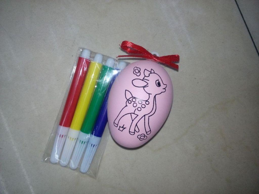 彩蛋塑料手绘彩蛋壳儿童卡通diy彩蛋手工制作彩绘蛋 带彩绳