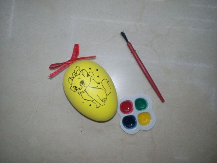 复活节彩蛋diy 节乐 儿童手绘diy彩蛋配颜料 装饰彩蛋塑料