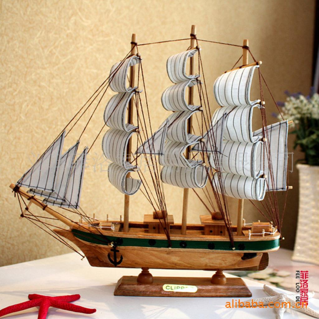 厂家 帆船批发木制工艺品|手工木制 |雕刻工艺品 fd523