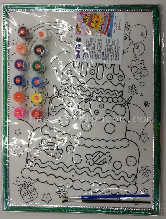 水彩画数字油画手绘卡通画填色画儿童水粉涂鸦画板di