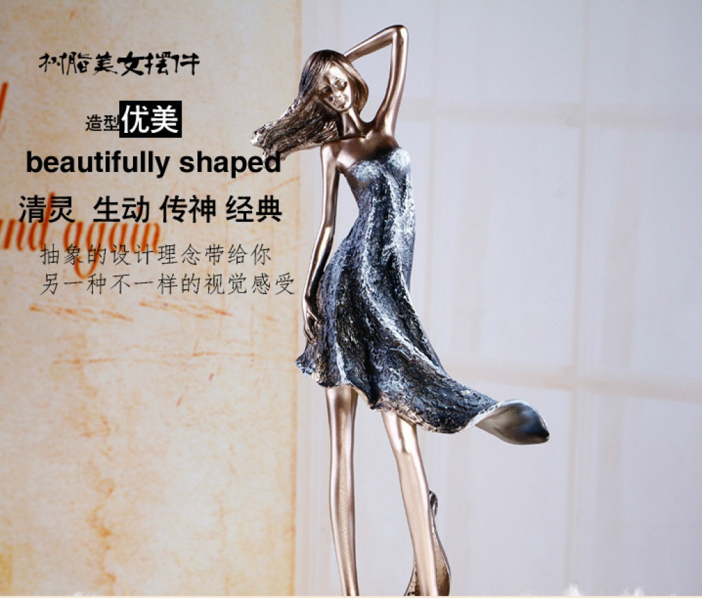可混批 时尚树脂装饰美女摆件 欧式家居饰品义乌fb882