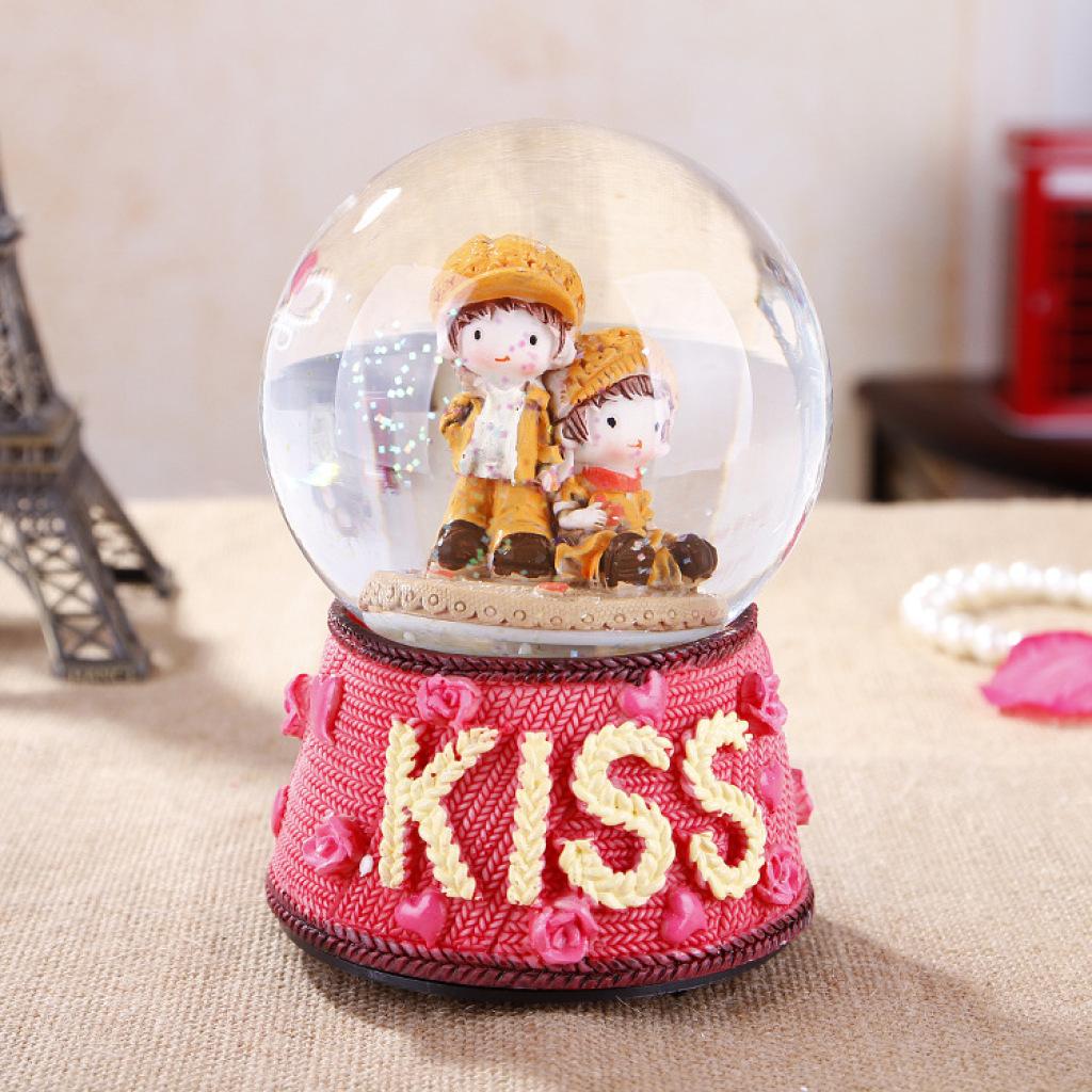 浪漫雪花水晶球 树脂工艺摆件 家居装音乐盒饰品ss412