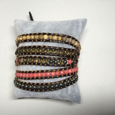 Nicky jewelry, leather bead, handmade bracelet