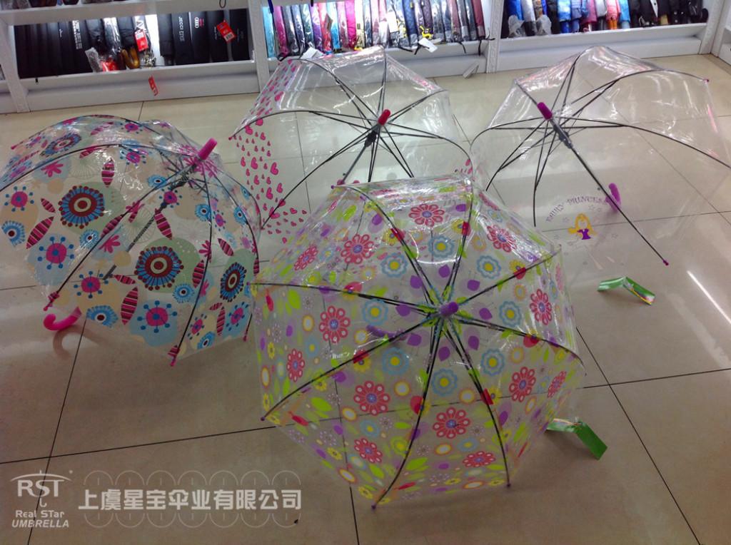 【rst081】厂家批发 仙女鲜花爱心可爱透明雨伞儿童雨伞