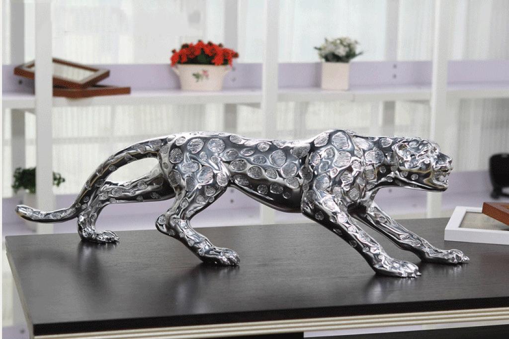 树脂欧式奢华电镀实心金钱豹客厅装饰fa732