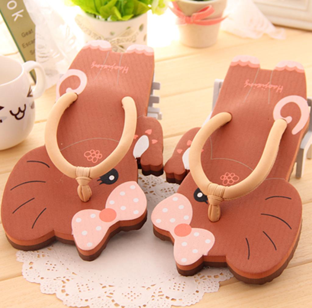 好极 新款可爱糖果色蝴蝶结小象造型人字拖女士夏天凉拖鞋 凉鞋