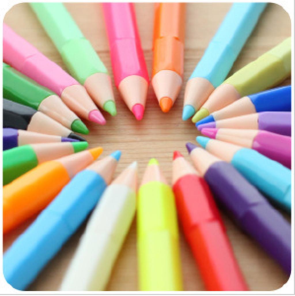韩国文具 小清新 可爱铅笔造型 水粉笔 荧光笔w