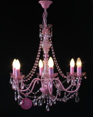 L66064 Fantasy Crystal lamp chandelier rose pink stock wholesale