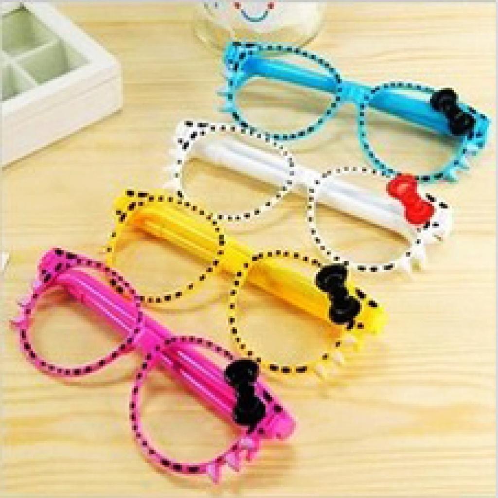 韩国文具 可爱创意蝴蝶结眼镜笔 kt猫圆珠笔 两支笔w