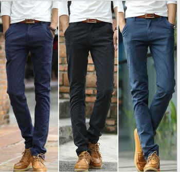 Stretch slim casual pants pencil long pants and jeans sanding new tide men's feet
