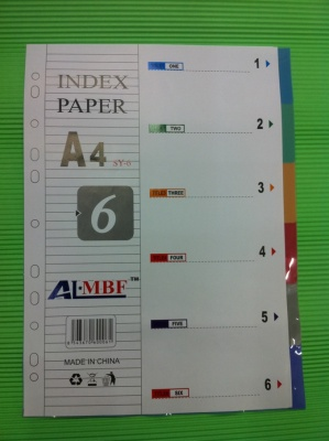 A4PP colored index paper pages 12 color pages paper plastic isolation sheet