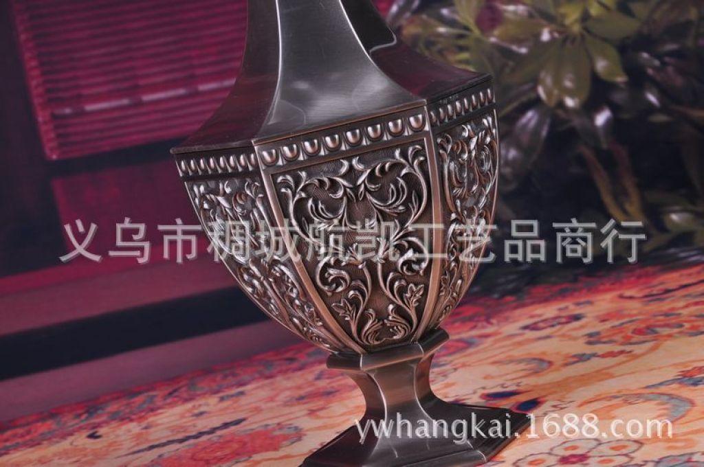 爆款家居合金六角花瓶欧式装饰品 创意摆件工艺
