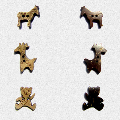 Natural coconut shell buttons animal creative DIY design Cardigan coats for children auxiliary accessories