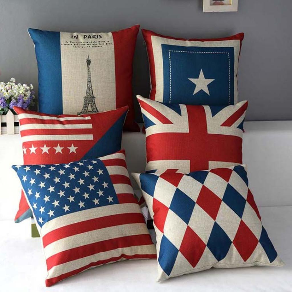 英伦风埃菲尔铁塔法国美国英国国旗 棉麻办公室沙发抱枕靠垫靠枕