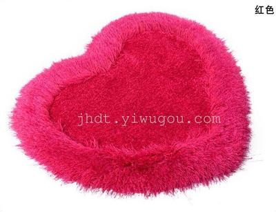 Thick super soft silk heart-shaped rug