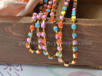 round iron cup chain pastel candy diy bracelet acrylic rhinestone