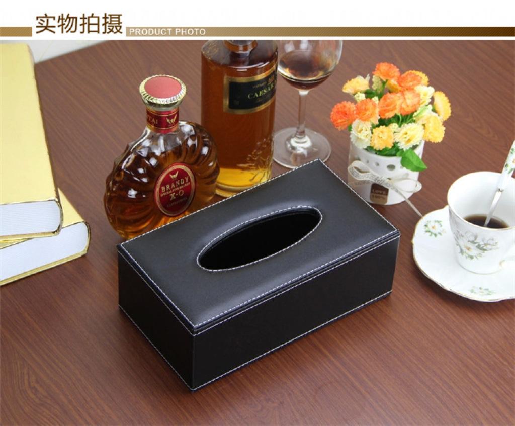 卡尔威高档黑色纸巾盒 抽纸盒时尚创意纸抽盒欧式可爱车用木酒店