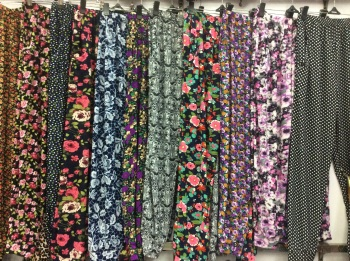 Middle and old spring and summer ice silk printed nine points bows pants