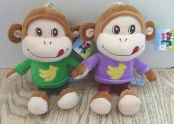 新款乐乐猴挂件 小猴子小猪毛绒玩具吸盘抓吉娃娃批发