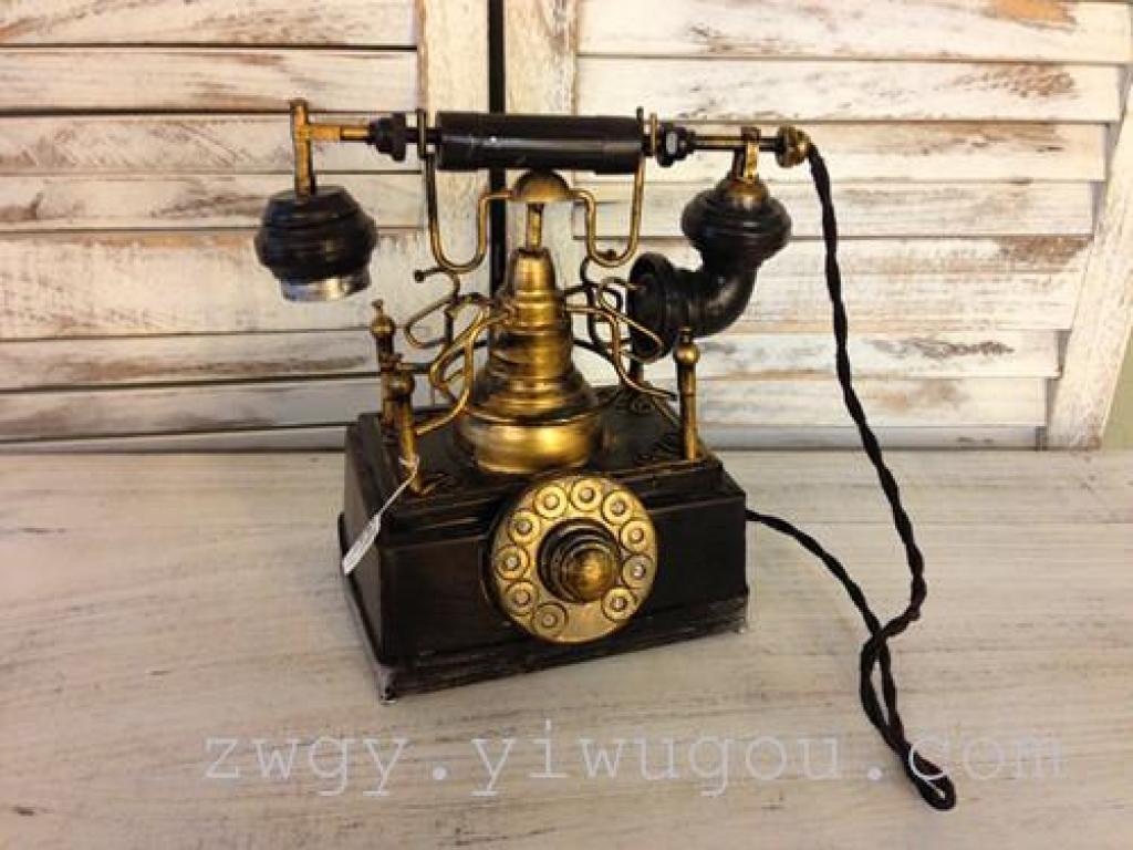 欧式复古老式铁皮电话机模型