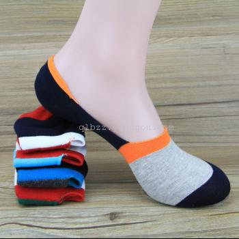 Cotton wide invisible socks for men non-slip silicone stealth boat socks Beanie shoes men socks